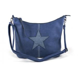 Poef tas met ster cobalt blauw.