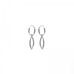 Karma hoops open pointed oval zilver.