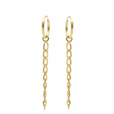 Karma hoops long chain gold.