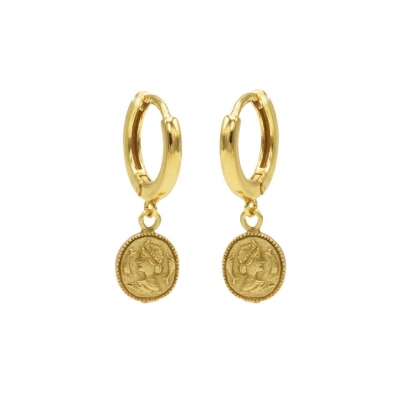 Hinged hoops coin goldplated.