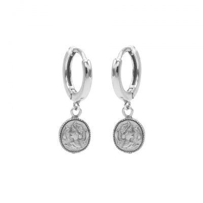 Hinged hoops coin zilver.