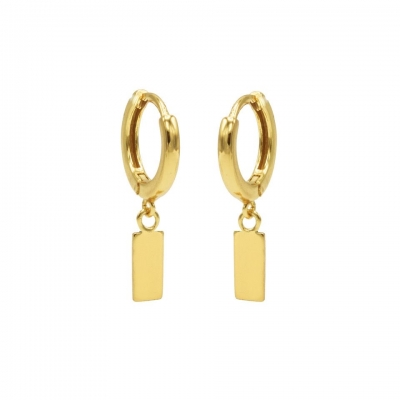 Hinged hoops mini rectangle goldplated.