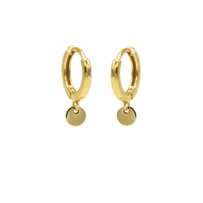Hinged hoops disc goldplated.