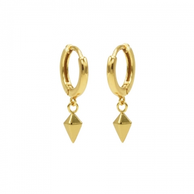 Hinged hoops square cone goldplated.