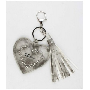 Sleutelhanger hart en love grijs.