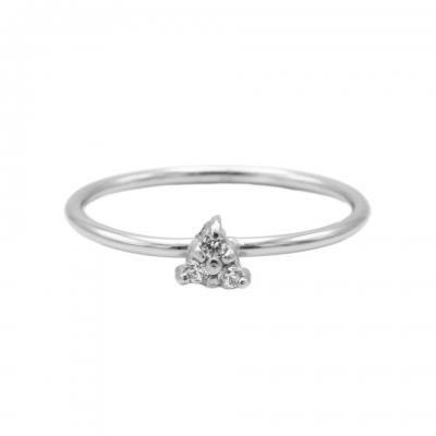 Karma ring diamond triple dots silver.