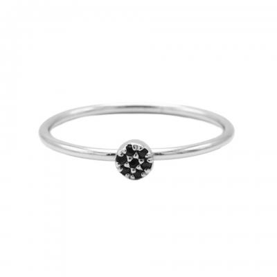 Karma ring black diamond disc silver.