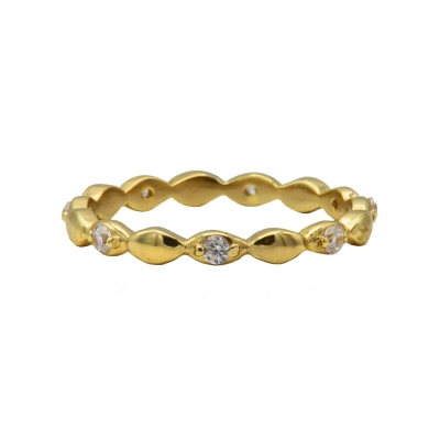 Karma ring zirconia ovals goldplated.