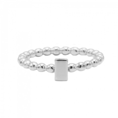 Karma ring dots rectangle silver.