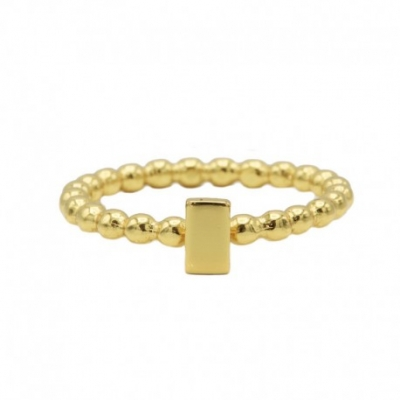 Karma ring dots rectangle goldplated.