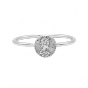 Karma ring coin silver.