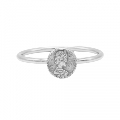 Karma ring coin silver.