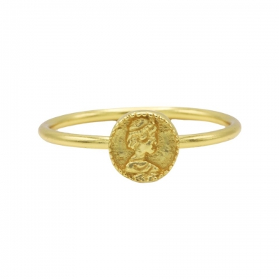 Karma ring coin goldplated.