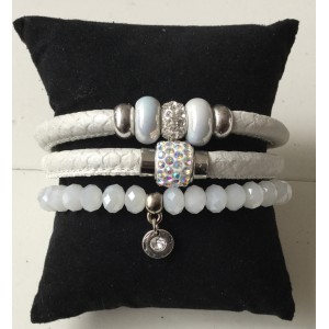 Armbanden setje dubbel wit
