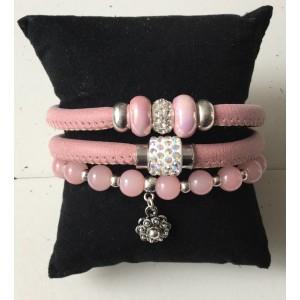 Armbanden setje dubbel roze