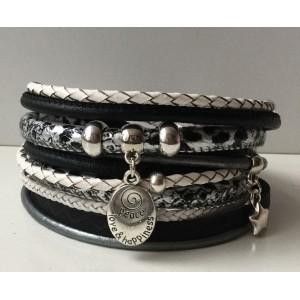 Wikkelarmband zwart/ wit