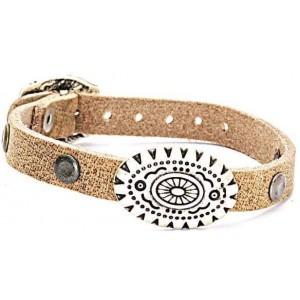 Leren armband stud naturel.