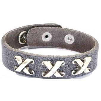 A Leren armband kruis grijs.