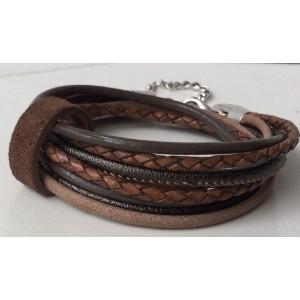 -nieuw-Wikkelarmband bruin met bandje.