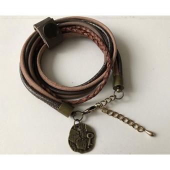 Armband wikkel bruin.
