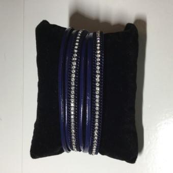 Armband wikkel donkerblauw.