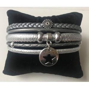 Wikkelarmband enkel zilver/ metallic.