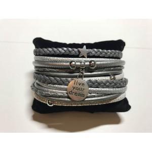 Wikkelarmband dubbel zilver/ metallic.