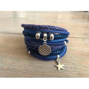 Wikkelarmband dubbel kobaltblauw.