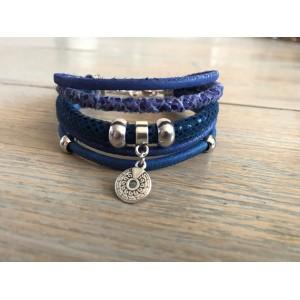 Enkele Wikkelarmband kobaltblauw.
