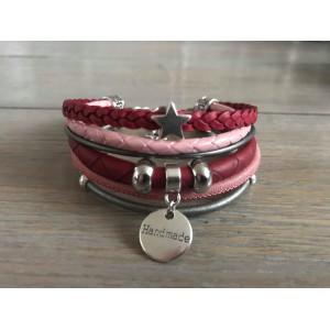 Enkele Wikkelarmband rood/ roze/ grijs.