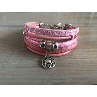 Enkele Wikkelarmband roze.