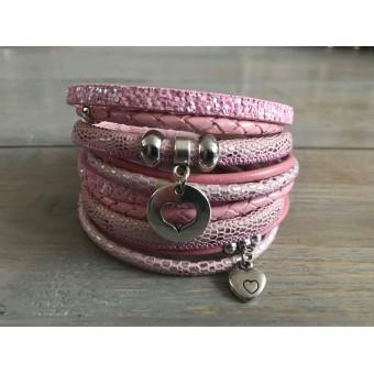 Dubbele Wikkelarmband roze.