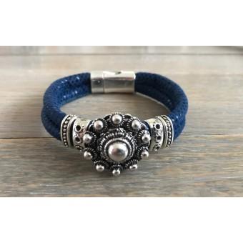 Zeeuwse knop armband kobaltblauw.