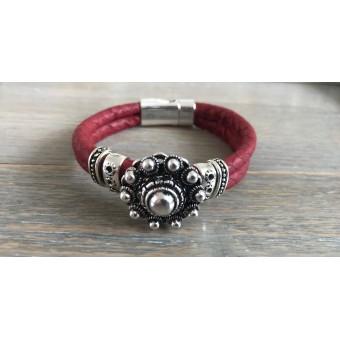 Zeeuwse knop armband rood.