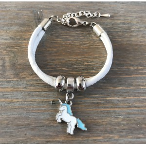 Meisjes armband unicorn blauw.