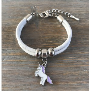 Meisjes armband unicorn lila.