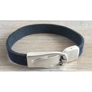 Leren armband met magneet gesp sluiting zwart.