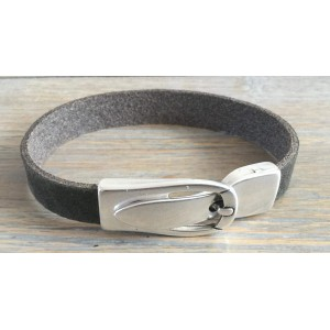 Leren armband met magneet gesp sluiting olijf.