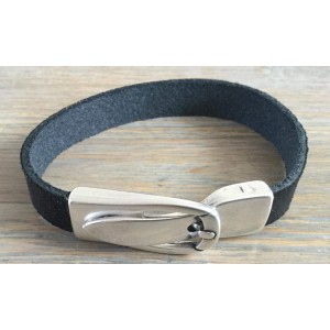 Leren armband met magneet gesp sluiting donkerblauw.