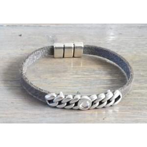 Leren armband met schakelschuiver taupe.
