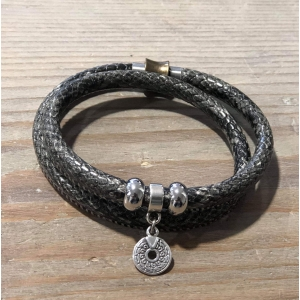 Armbandje dubbel met magneetsluiting snake grijs.