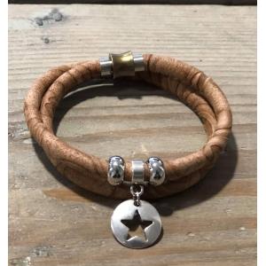 Armbandje dubbel met magneetsluiting camel.