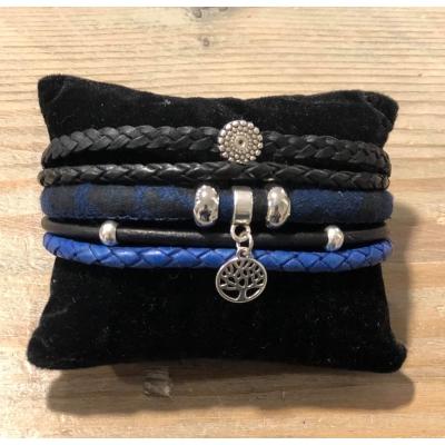 Wikkelarmband enkel koningsblauw/ zwart.