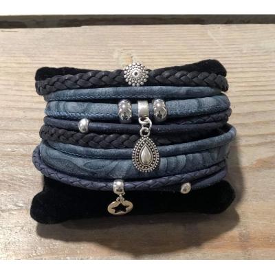 Dubbele Wikkelarmband blauw.