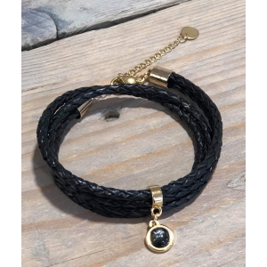 Wikkelarmband zwart gevlochten dubbel goud.