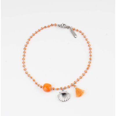 Enkelbandje schelp oranje.