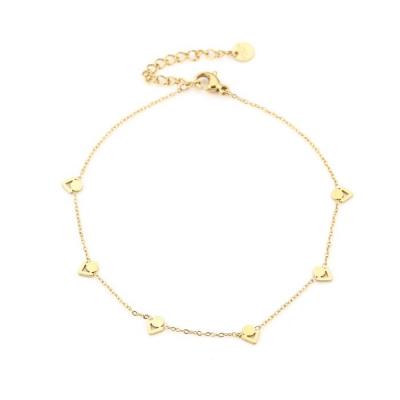 Enkelbandje cirkel/ driehoek goud.
