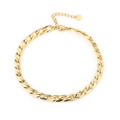 Enkelbandje chunky chain goud.