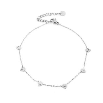 Enkelbandje cirkel/ driehoek zilver.
