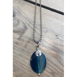 Bolletjes ketting met steen blauw.